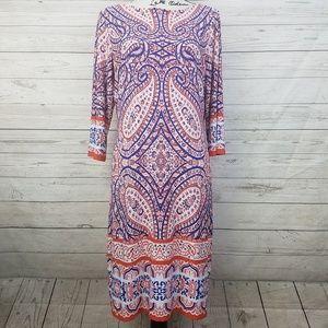 London Times Bohemian Paisley Patterned Dress